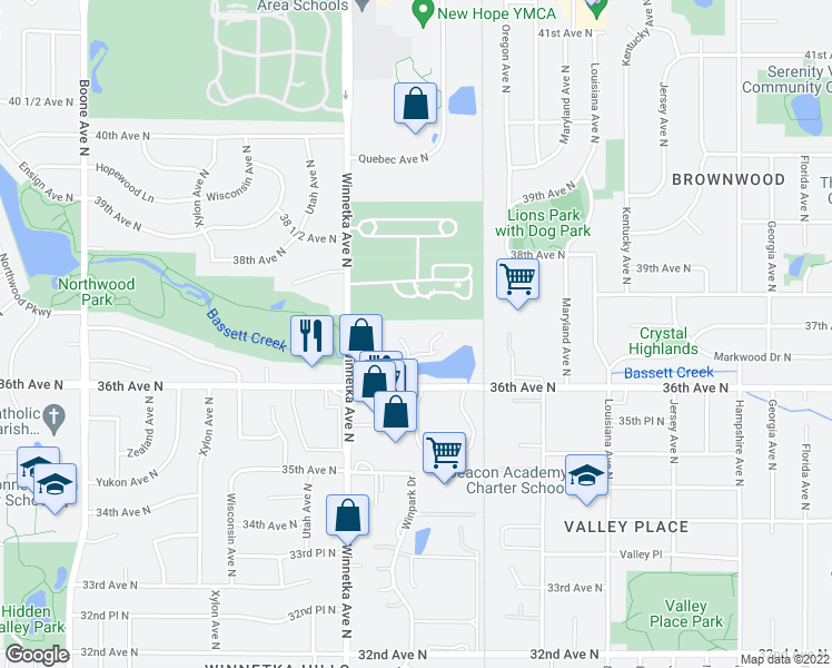 map of restaurants, bars, coffee shops, grocery stores, and more near 7710 36th Avenue North in Minneapolis