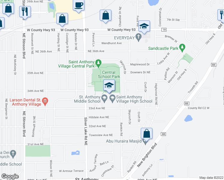map of restaurants, bars, coffee shops, grocery stores, and more near 3408 Skycroft Drive in Minneapolis