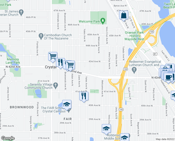 map of restaurants, bars, coffee shops, grocery stores, and more near 4239 Xenia Avenue North in Minneapolis