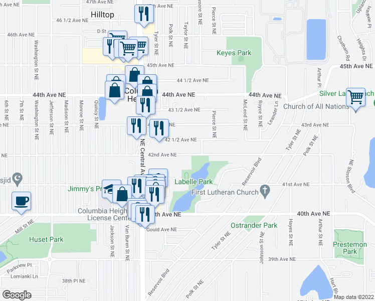 map of restaurants, bars, coffee shops, grocery stores, and more near 1115 42nd Avenue Northeast in Minneapolis