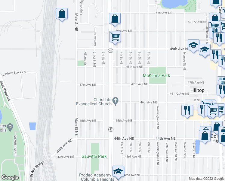 map of restaurants, bars, coffee shops, grocery stores, and more near 4621 University Ave NE in Minneapolis