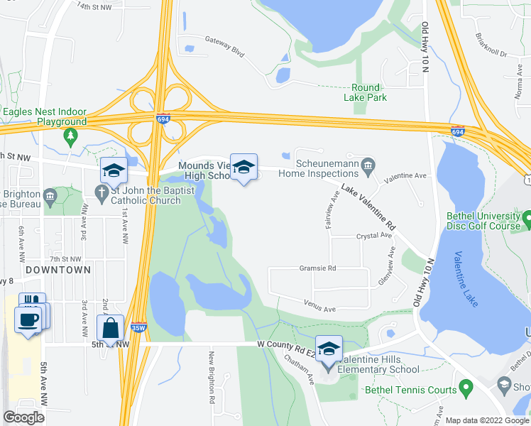 map of restaurants, bars, coffee shops, grocery stores, and more near 1900 Lake Valentine Rd in Arden Hills