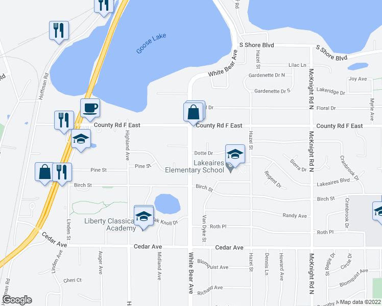map of restaurants, bars, coffee shops, grocery stores, and more near White Bear Ave N & Dotte Dr in White Bear Lake