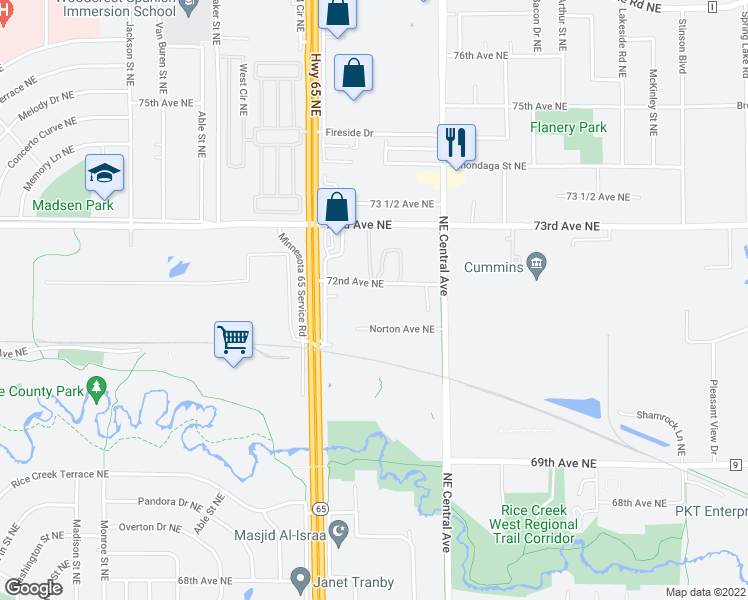 map of restaurants, bars, coffee shops, grocery stores, and more near 1200 72nd Ave NE in Fridley