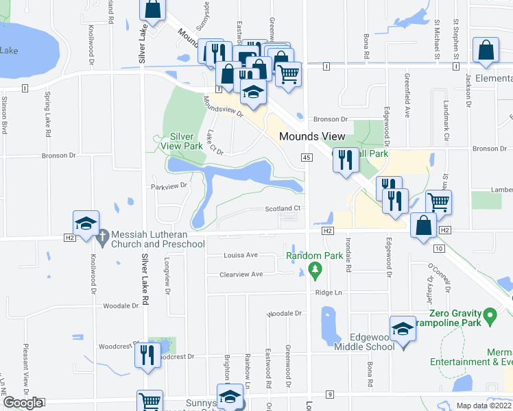 map of restaurants, bars, coffee shops, grocery stores, and more near 2662 Scotland Ct in St Paul