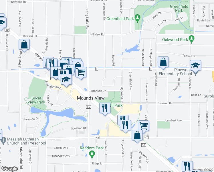 map of restaurants, bars, coffee shops, grocery stores, and more near 7639 Woodlawn Dr in Mounds View
