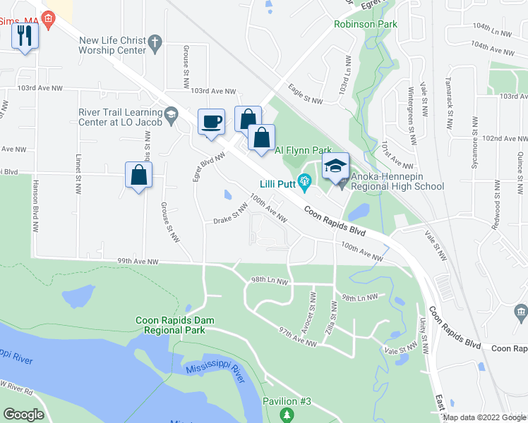 map of restaurants, bars, coffee shops, grocery stores, and more near 1430 100th Avenue Northwest in Coon Rapids