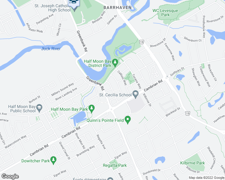map of restaurants, bars, coffee shops, grocery stores, and more near Carina Crescent in Ottawa
