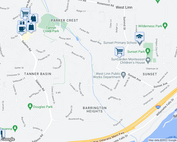 map of restaurants, bars, coffee shops, grocery stores, and more near 2676 Beacon Hill Drive in West Linn