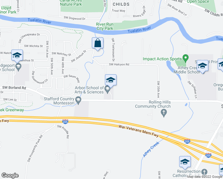 map of restaurants, bars, coffee shops, grocery stores, and more near 4201 Southwest Borland Road in Tualatin