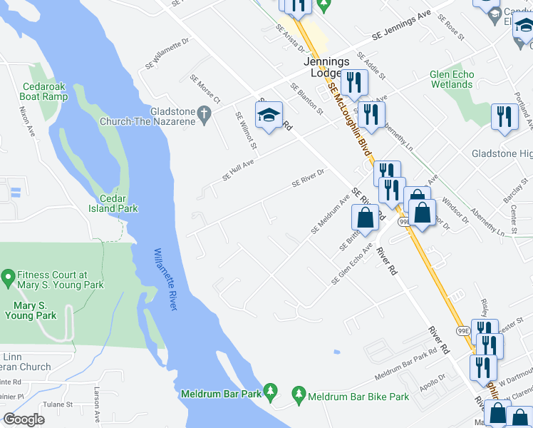 map of restaurants, bars, coffee shops, grocery stores, and more near 4520 SE River Dr in Milwaukie
