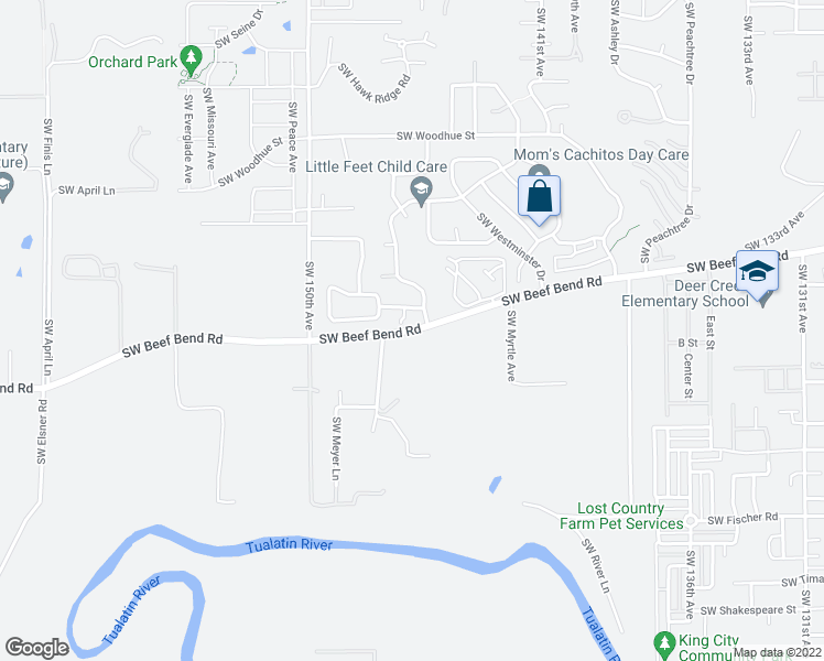 map of restaurants, bars, coffee shops, grocery stores, and more near 14455-14571 SW Beef Bend Rd in Portland