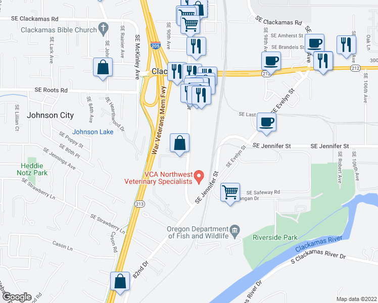 map of restaurants, bars, coffee shops, grocery stores, and more near 16409-16459 Southeast 82nd Drive in Clackamas