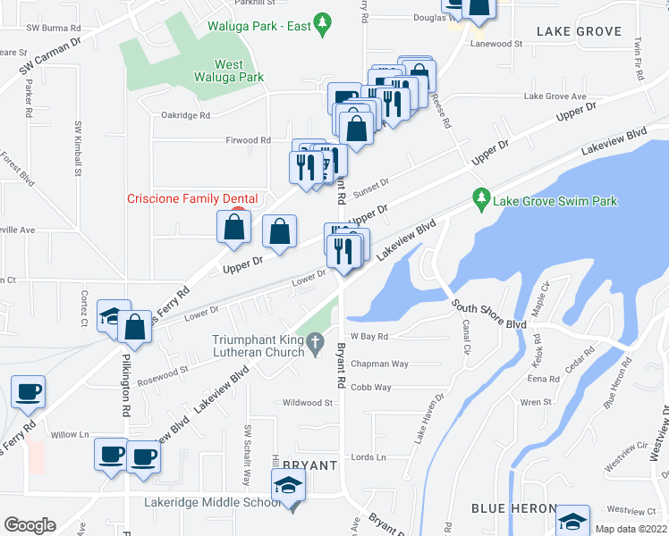 map of restaurants, bars, coffee shops, grocery stores, and more near Bryant Road & Lower Drive in Lake Oswego