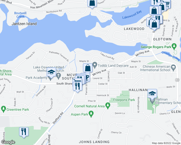 map of restaurants, bars, coffee shops, grocery stores, and more near 1584 Oak Street in Lake Oswego
