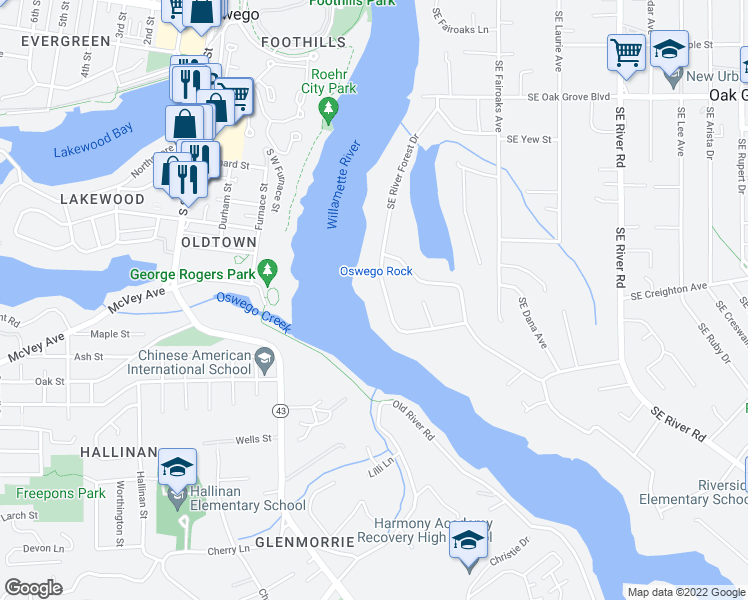 map of restaurants, bars, coffee shops, grocery stores, and more near 15523 SE River Forest Dr in Milwaukie