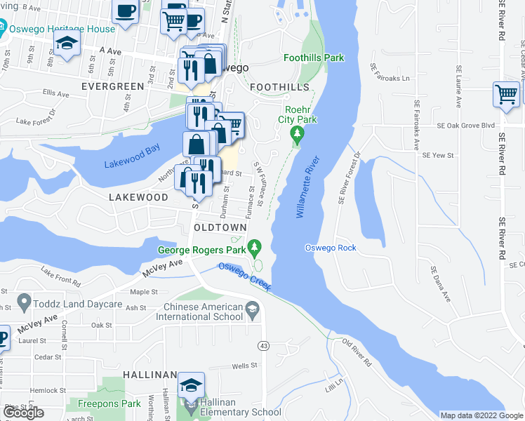 map of restaurants, bars, coffee shops, grocery stores, and more near 199 Furnace Street in Lake Oswego
