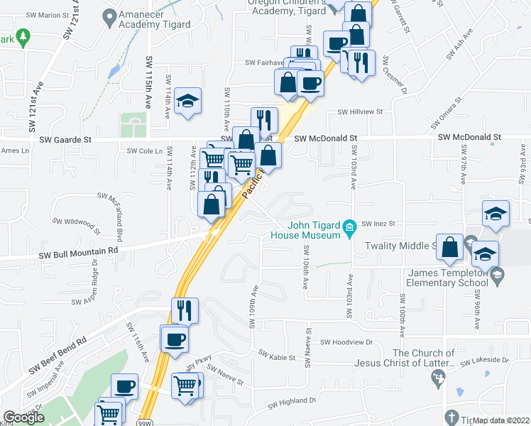 map of restaurants, bars, coffee shops, grocery stores, and more near 10860-10890 SW Canterbury Ln in Tigard