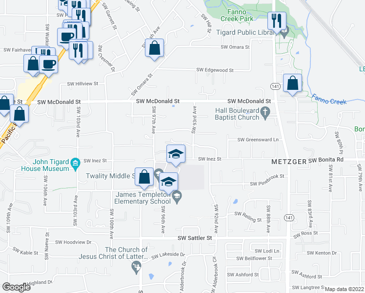 map of restaurants, bars, coffee shops, grocery stores, and more near 14420 SW 94th Ct in Portland