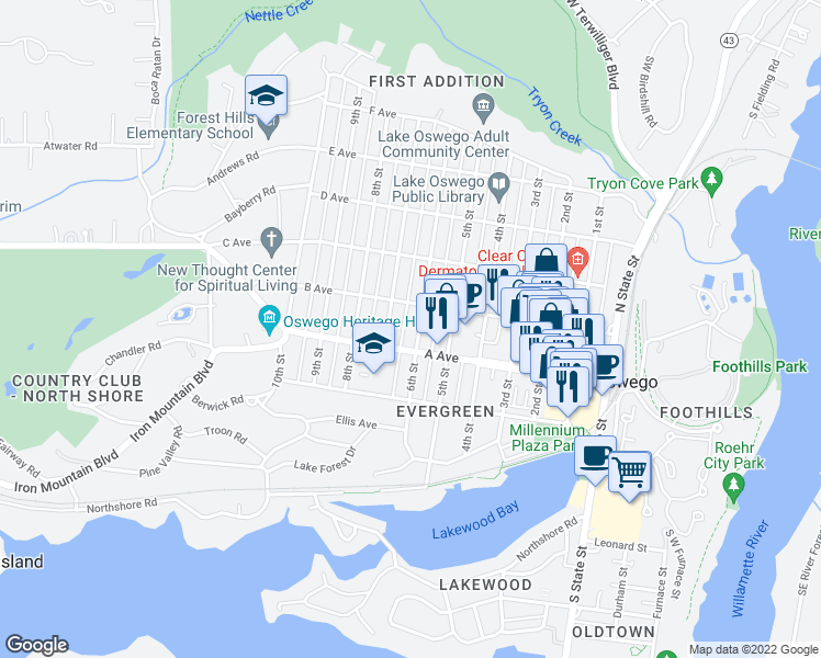 map of restaurants, bars, coffee shops, grocery stores, and more near in Lake Oswego