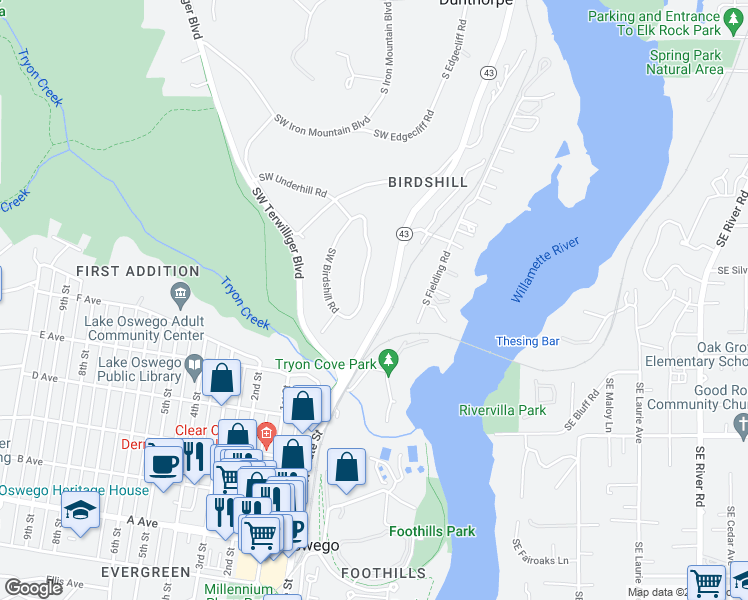 map of restaurants, bars, coffee shops, grocery stores, and more near 260 SW Birdshill Rd in Portland