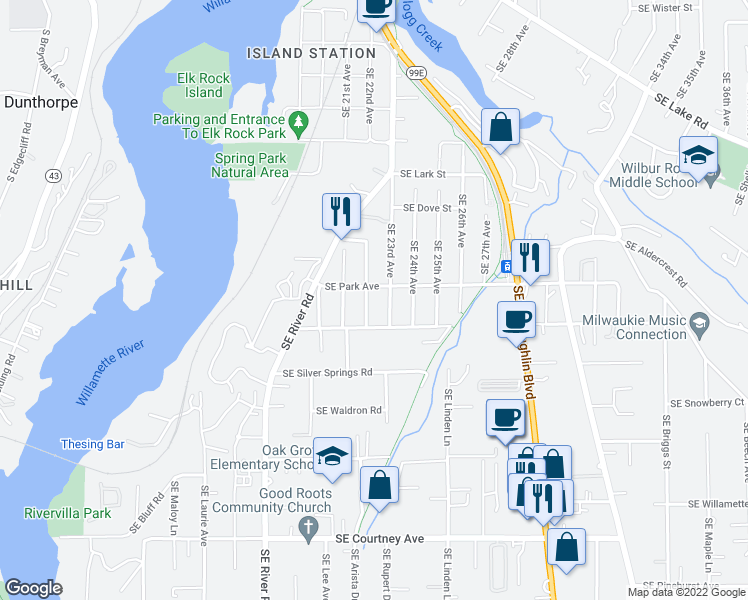 map of restaurants, bars, coffee shops, grocery stores, and more near 12832 Southeast 22nd Avenue in Milwaukie