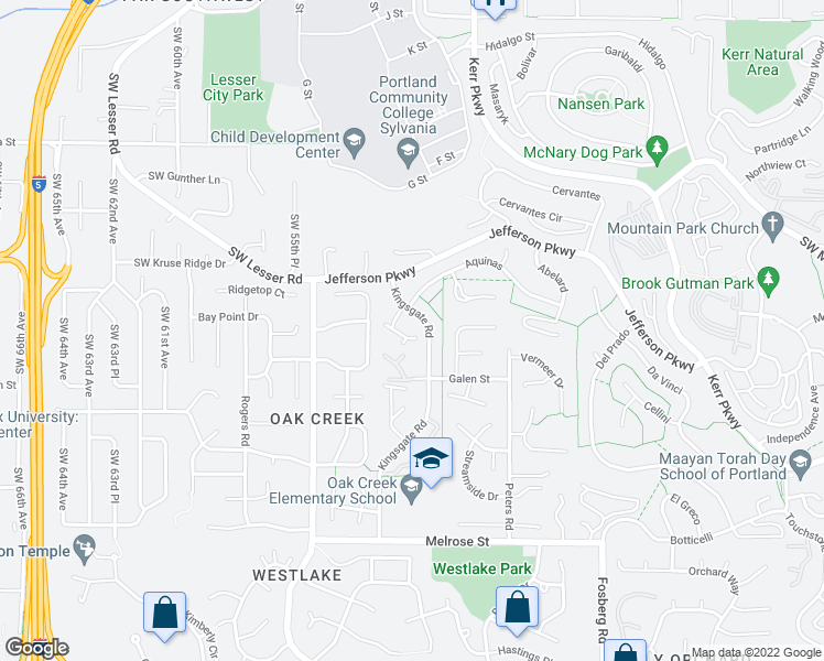 map of restaurants, bars, coffee shops, grocery stores, and more near 12 Crestfield Court in Lake Oswego