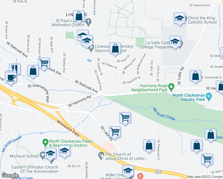 map of restaurants, bars, coffee shops, grocery stores, and more near 6436 SE Cedarcrest Dr in Milwaukie