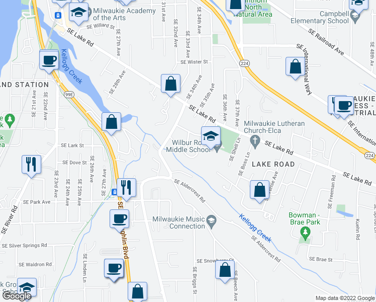 map of restaurants, bars, coffee shops, grocery stores, and more near 12462 Southeast Guilford Drive in Milwaukie