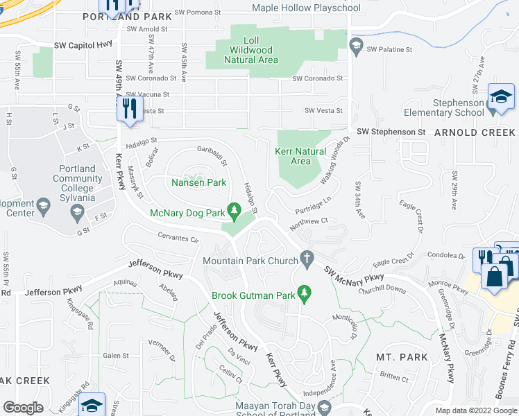 map of restaurants, bars, coffee shops, grocery stores, and more near 1 Hidalgo Street in Lake Oswego