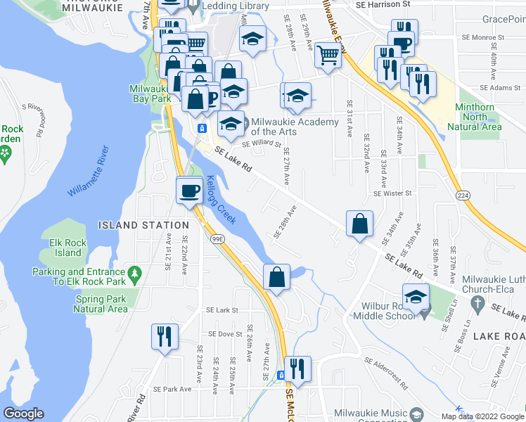 map of restaurants, bars, coffee shops, grocery stores, and more near 2645 Southeast Gino Lane in Milwaukie