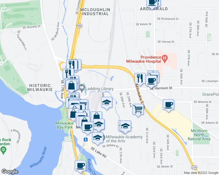 map of restaurants, bars, coffee shops, grocery stores, and more near 2519 SE Harrison St in Milwaukie