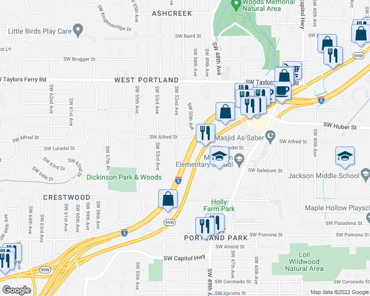 map of restaurants, bars, coffee shops, grocery stores, and more near 10527-10549 SW 52nd Ave in Portland