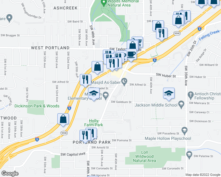 map of restaurants, bars, coffee shops, grocery stores, and more near 4545 SW Luradel St in Portland