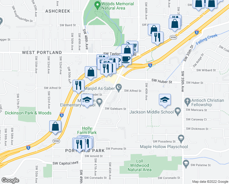 map of restaurants, bars, coffee shops, grocery stores, and more near 10230 Southwest Capitol Highway in Portland