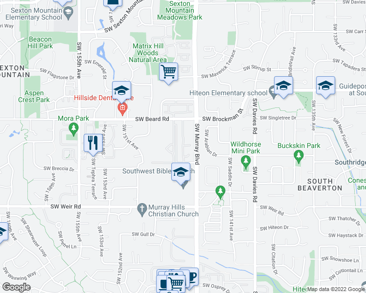 map of restaurants, bars, coffee shops, grocery stores, and more near 9455 Southwest 146th Terrace in Beaverton