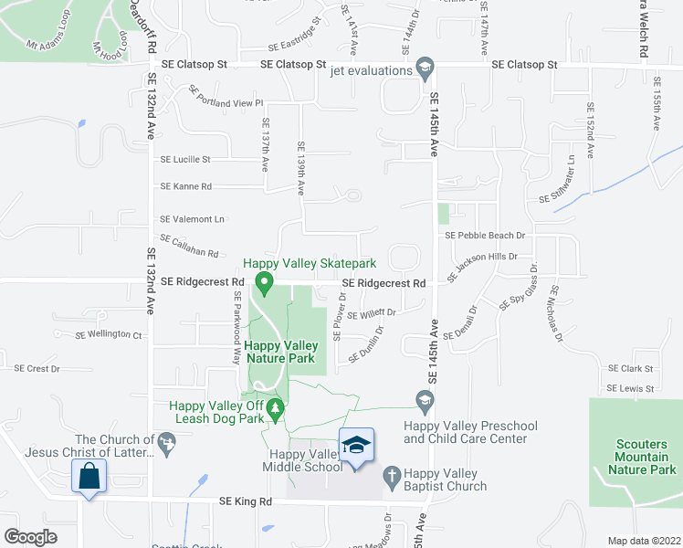 map of restaurants, bars, coffee shops, grocery stores, and more near 14015 Southeast Ridgecrest Road in Happy Valley