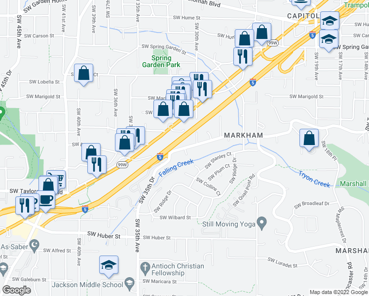 map of restaurants, bars, coffee shops, grocery stores, and more near SW Taylors Ferry Rd & SW 35th Dr in Portland