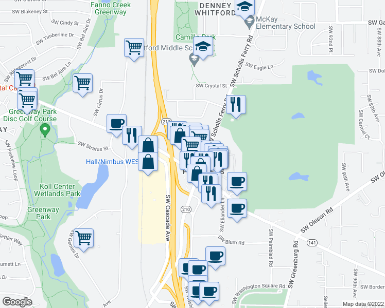 map of restaurants, bars, coffee shops, grocery stores, and more near 8620 SW Hall Blvd in Beaverton