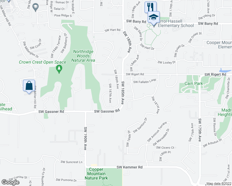 map of restaurants, bars, coffee shops, grocery stores, and more near 8239 Southwest 186th Avenue in Beaverton