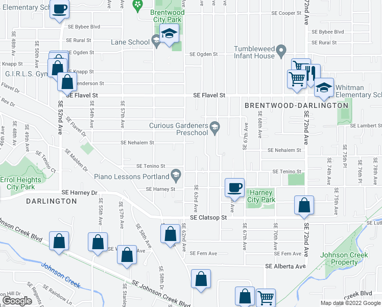 map of restaurants, bars, coffee shops, grocery stores, and more near 8048 SE 62nd Ave in Portland