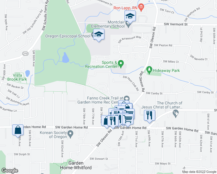 map of restaurants, bars, coffee shops, grocery stores, and more near 7215 Southwest Aloma Way in Portland