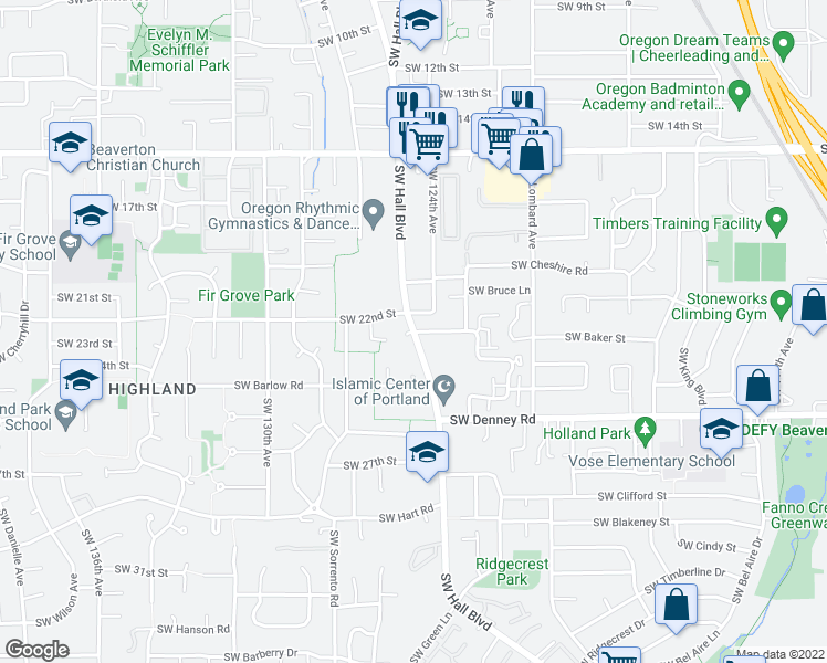 map of restaurants, bars, coffee shops, grocery stores, and more near SW Hall Blvd & SW Sussex St in Beaverton