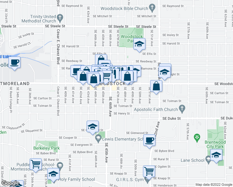 map of restaurants, bars, coffee shops, grocery stores, and more near 6001-6099 Southeast 47th Avenue in Portland