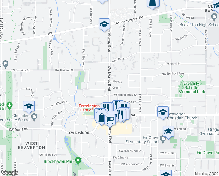 map of restaurants, bars, coffee shops, grocery stores, and more near in Beaverton