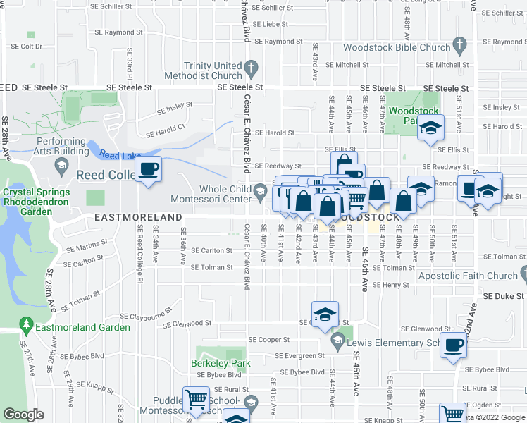 map of restaurants, bars, coffee shops, grocery stores, and more near 5927 SE 40th Ave in Portland