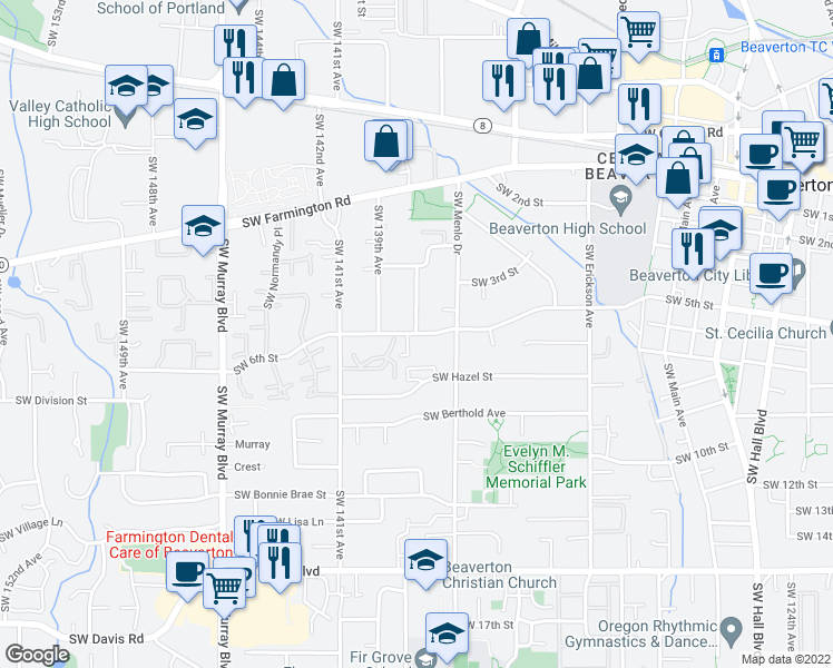map of restaurants, bars, coffee shops, grocery stores, and more near SW 6th St & SW Spencer Ave in Beaverton