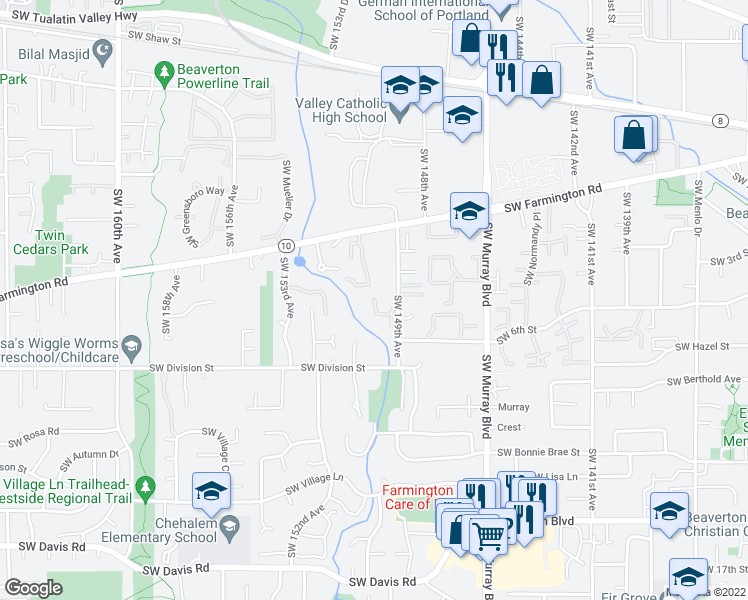 map of restaurants, bars, coffee shops, grocery stores, and more near 14917-14999 SW Tracy Ann Ct in Beaverton
