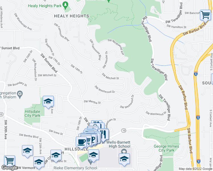 map of restaurants, bars, coffee shops, grocery stores, and more near 1663 SW Westwood Dr in Portland