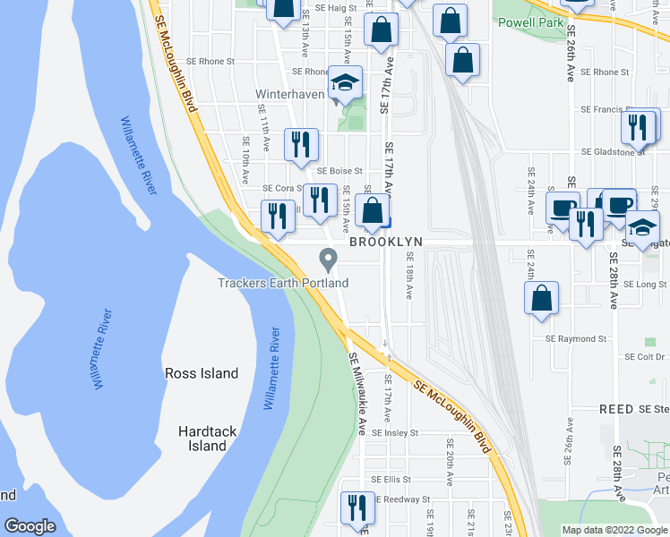 map of restaurants, bars, coffee shops, grocery stores, and more near in Portland